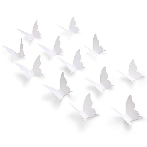 100p 3d papel blanco pegatinas de pared de mariposa diy decoració